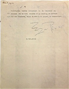 1955 Photostat from Ezra Pound courtesy of Woodberry Poetry Room