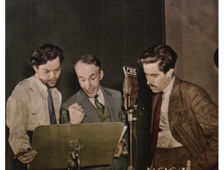 Orson Welles, Archibald MacLeish and William Robson performing the radio drama Air Raid 1938