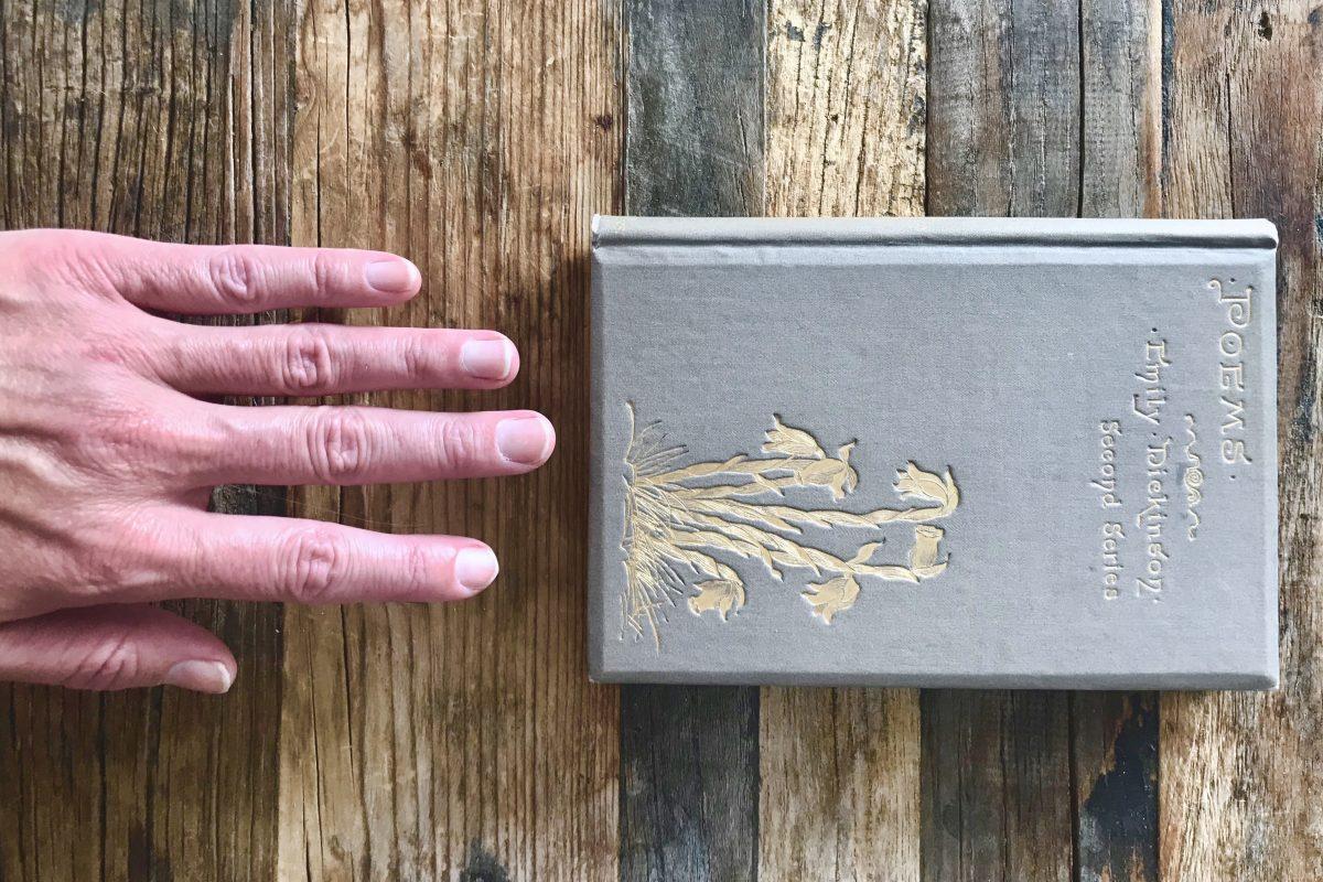 Handing reaching toward Dickinson book